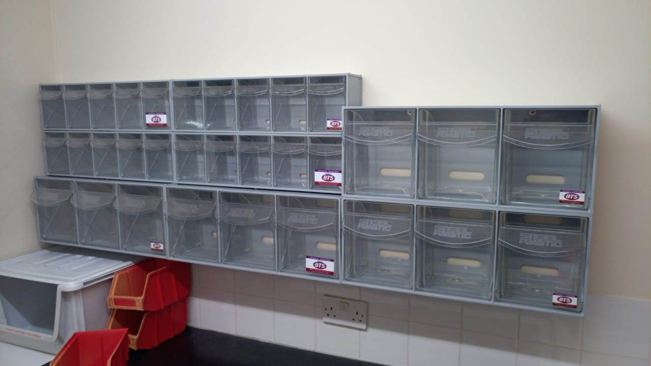 Really handy parts bins, these were wall mounted for the client who wanted to store smaller items