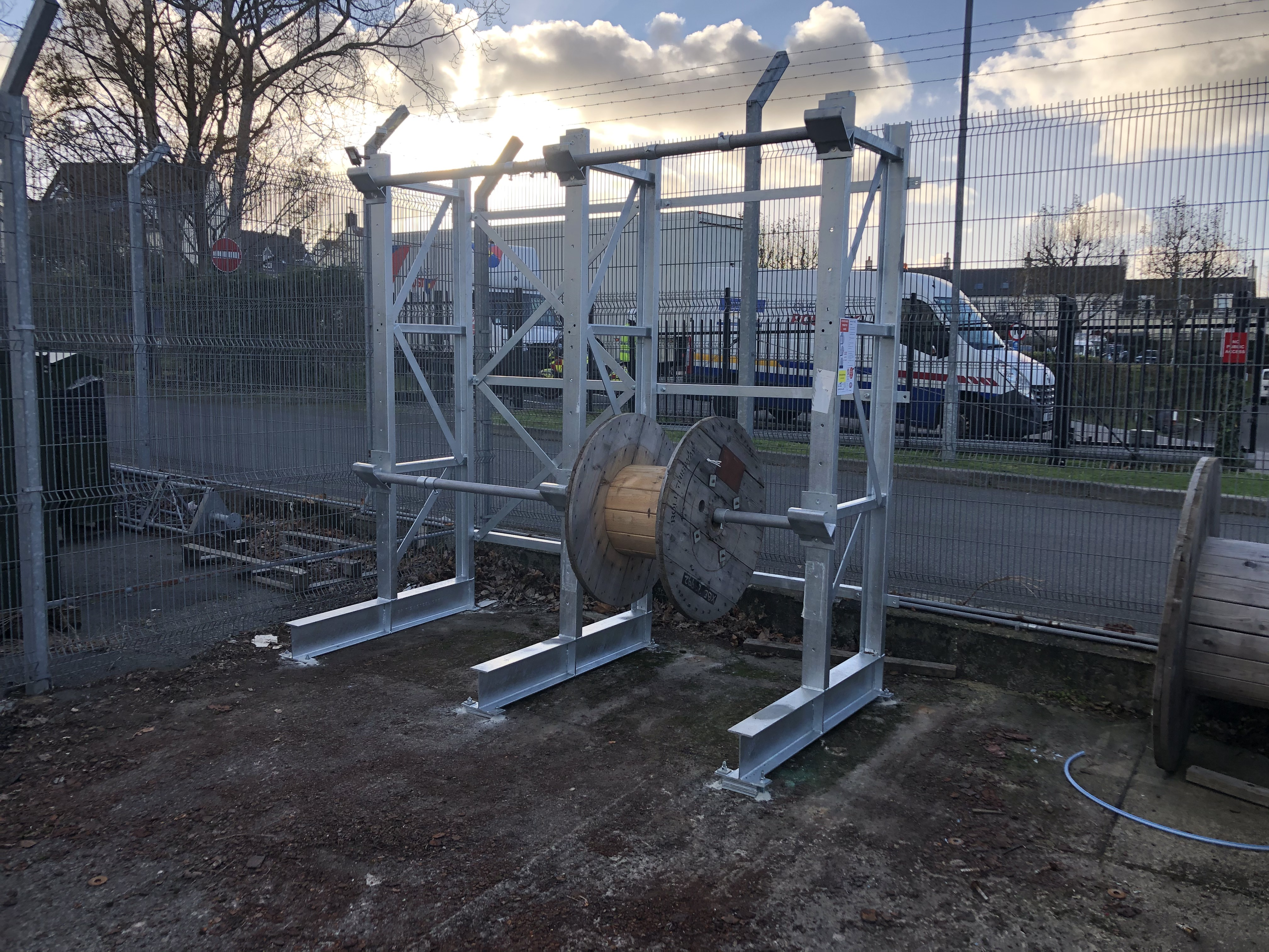 External galvanised cable reel cantilever racking installed for a local telecoms provider
