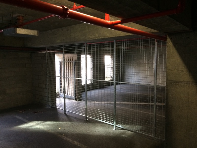 The BTS mesh partitioning system is perfect for creating secure areas, like in this underground carpark